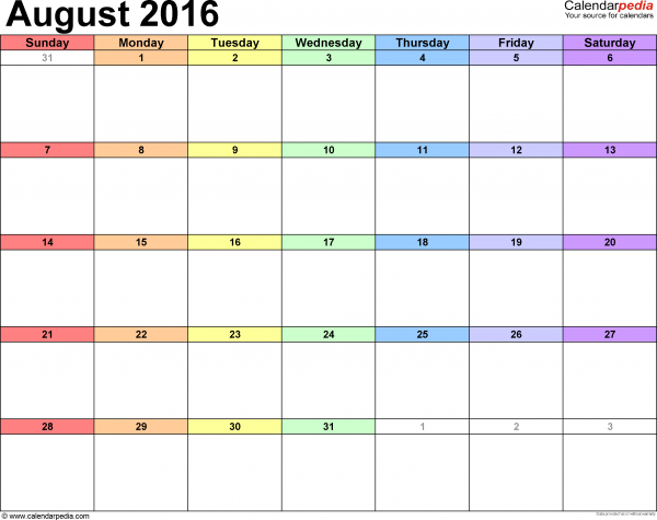 語言家8月行事曆 Language Plus Living Space August 2016 Calendar