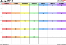 語言家六月行事曆Language Plus Living Space June 2016 Calendar